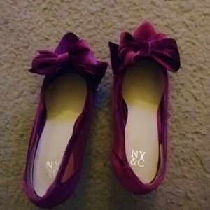 New York and Company Velvet Bow Pumps